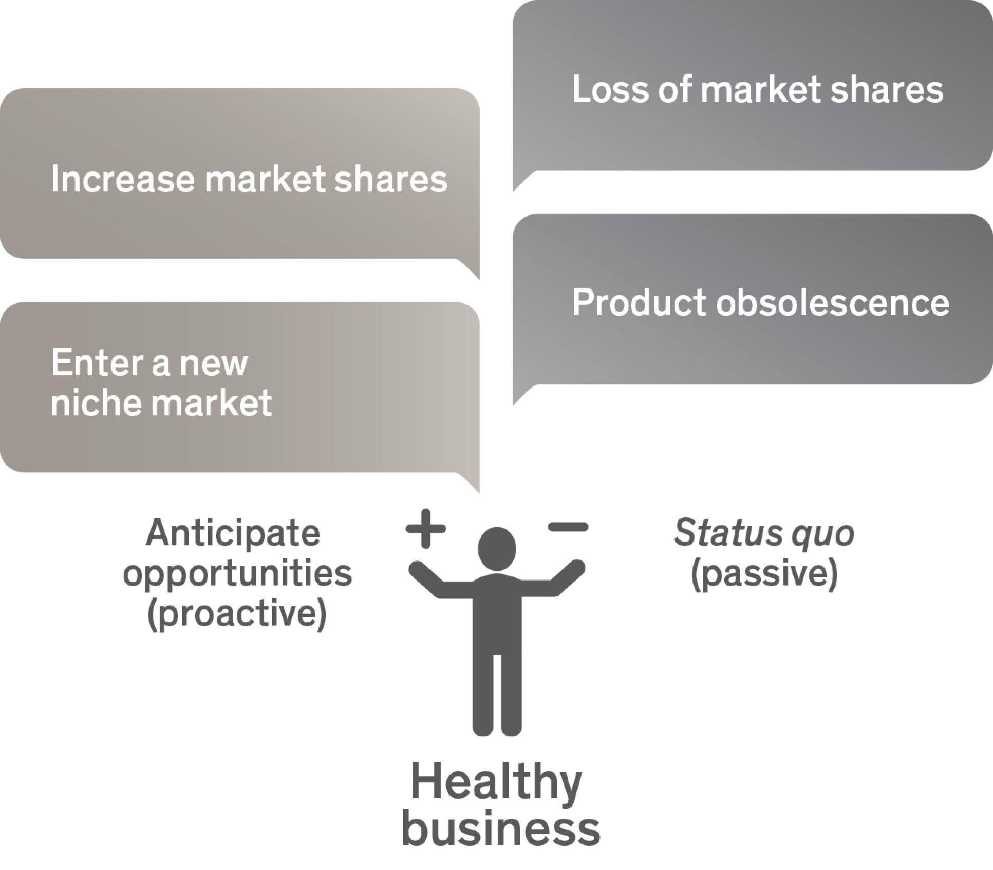 market shares, niche market, product obsolesce -graph