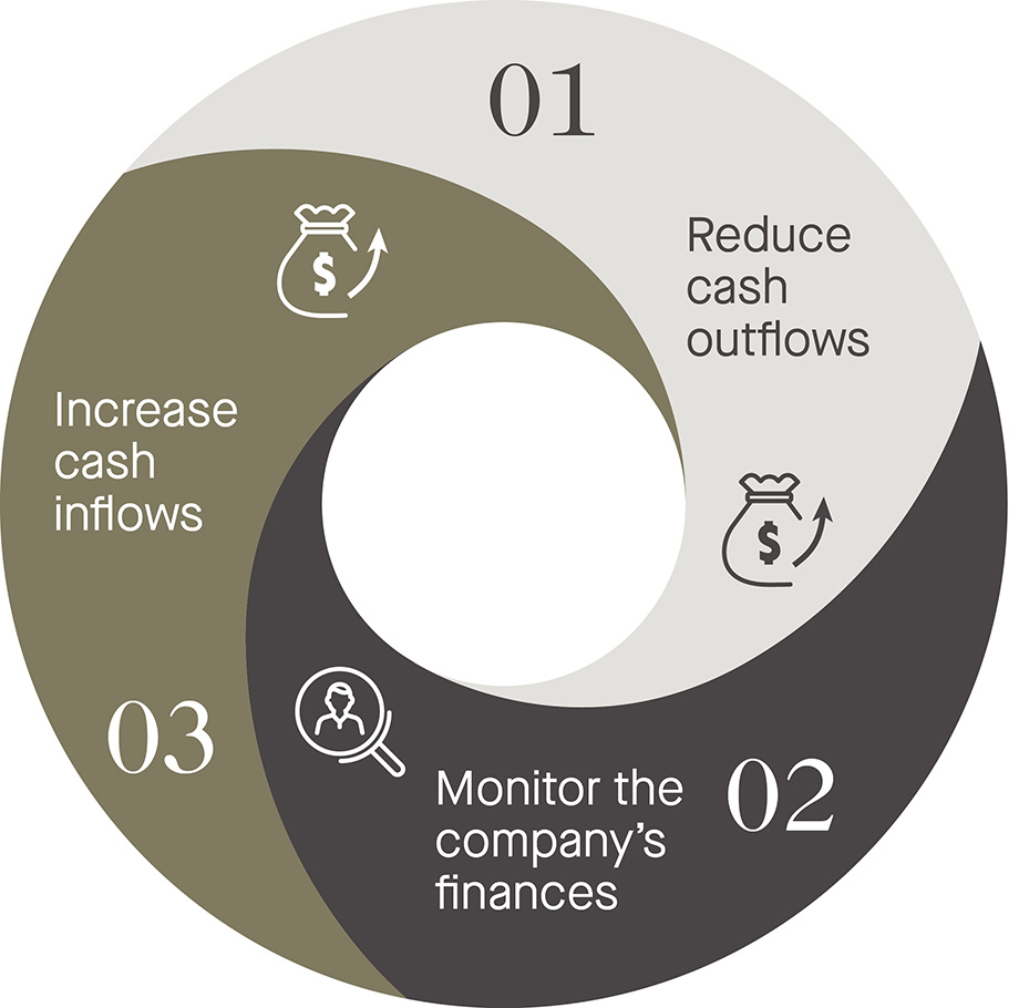 reduce cash outflows; monitor the company's finances; increase cash flows - graph