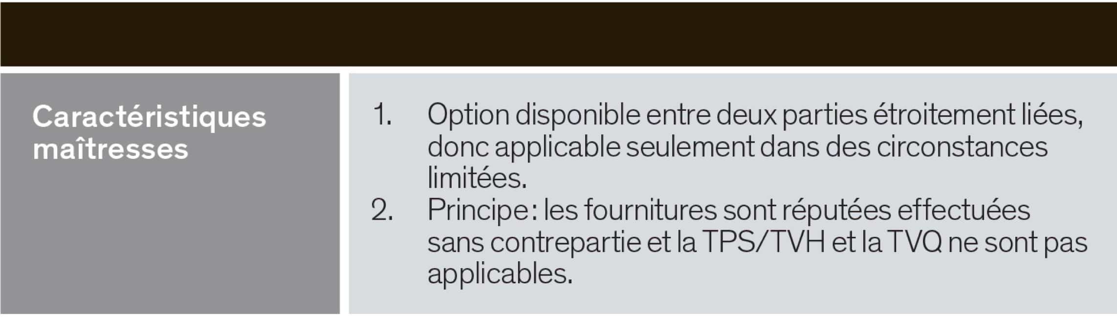 Caractéristiques maîtreses - Option disponible entre deux parties liées; ;es fournitures sont réputées effectuées sans contrepartie
